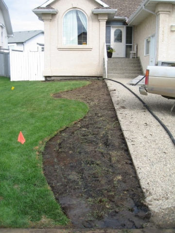 new bed ready for curb note depth of prep