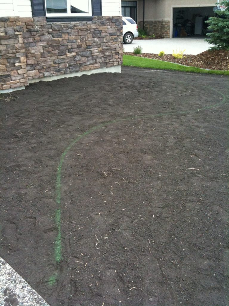 perfectly raked/marked topsoil