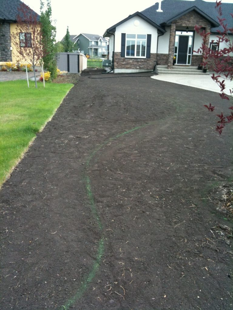 perfectly raked and marked. A scratched line will do . Line is front edge of curb where it meets the grass.