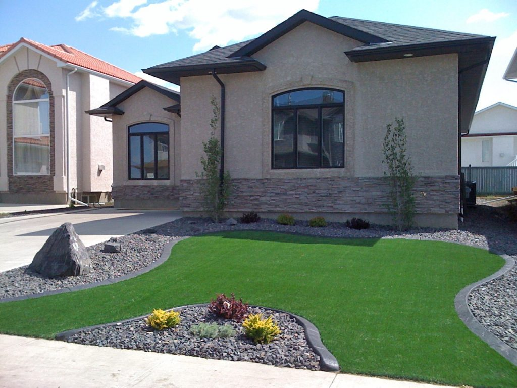 curb with artificial turf in front yard