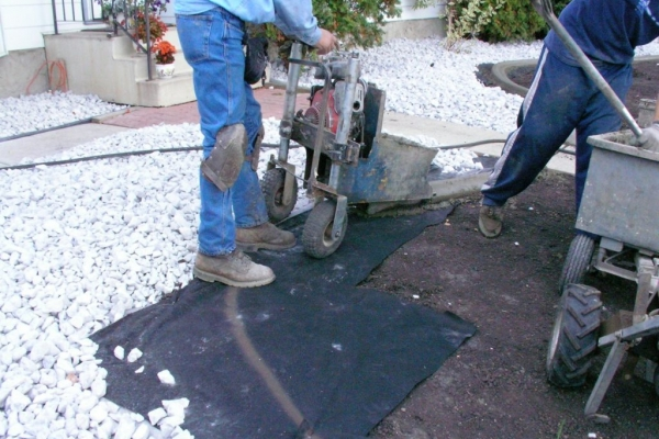 Installing on fabric before sod laid